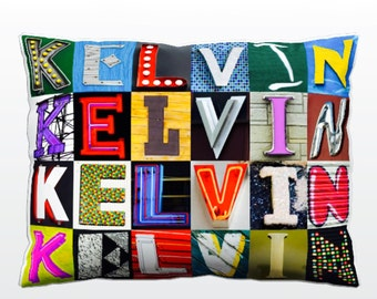 Personalized Pillow featuring KELVIN in photos of sign letters; Custom couch cushions; Colorful pillows; Photo pillow; Sofa pillows