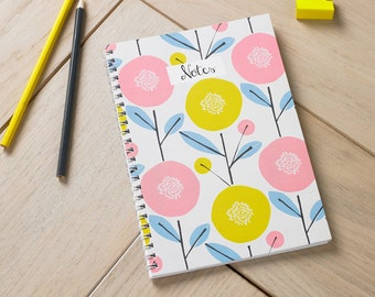 Scandi Floral Notebook, Allover Floral Printed Journal, Lined Paper, A5 Notebook, Scandi Style,