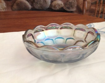 Vintage Smoke Gray Carnival Thumbprint Dish