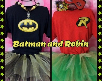 Robin Tutu Outfit Halloween Costume! Tutu with t-shirt/tank/ long sleeve. Choose your style. Both kid and adult sizes. Batman, Robin