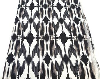 Tribal Ethnic Black Gray Off White Brushed Sweater Knit Fabric 1.25 Yards  OSK00195