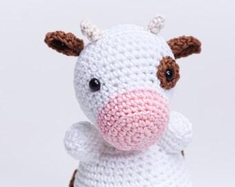 Cow Toy Crochet Amigurumi Stuffed Farm Animal, White Brown Cow Crochet Eco Friendly Soft Plush
