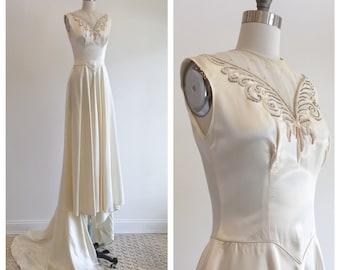 Vintage 1940s ivory slipper satin wedding dress with beaded detail