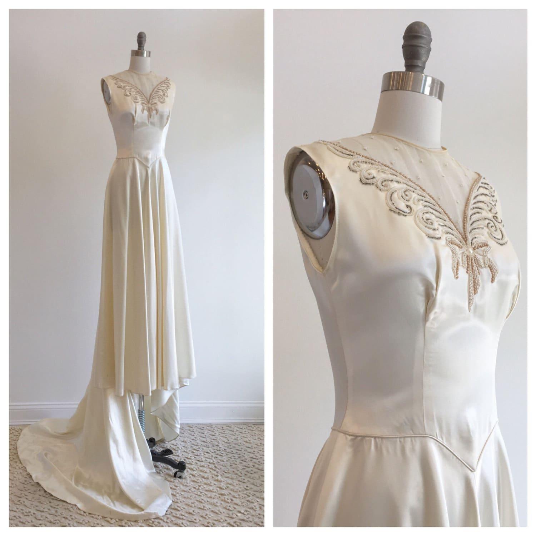 Vintage 1940s ivory slipper satin wedding dress with beaded for Slipper satin wedding dress