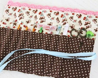 Crochet Hook Case, Crochet Hook Organizer, Little Bird Fabric