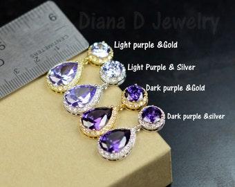 Purple earrings, purple drop Earrings, Bridesmaid Gift Wedding Earrings Bridal Jewelry ,Puple Danlge Earrings, Purple plum Earrings, Gift