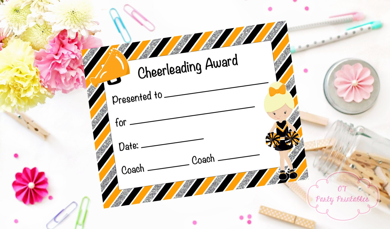 cheerleading certificate cheerleading award cheerleading