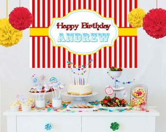 Circus Theme Personalized Backdrop - Birthday Cake Table Backdrop Birthday-Printed Birthday Backdrop, Carnival Party Theme Backdrop,