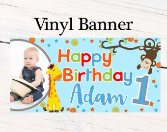 Jungle Friends First Birthday Banner ~ Personalized Birthday Banner -Large  Photo First Birthday Banner, Printed Vinyl Banner