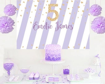 Birthday Personalized Party Backdrop - Birthday Cake Table Backdrop Birthday- Baby Shower Backdrop, Lilac Backdrop, Vinyl Backdrop