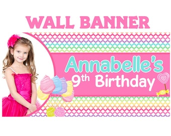 Happy Birthday Candy Land Photo Banner, Personalized Rainbow Chevron Party Banners - 13th Birthday Banner, Printed Vinyl Banner