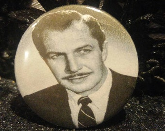 Vincent, Price, Pin, Button, Pinback, Actor, Horror, Classic, Monster, Accessory, 1 inch