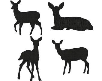 Set 4 Deer/Doe SOLID Fill Machine Embroidery DESIGN NO.590