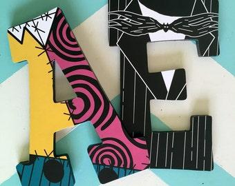 Custom Decorated Wooden Letters - Nightmare Before Christmas - Sally - Jack Skelington - Zero - Oogie Boogie - Lock - Shock - Barrel