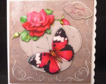 Stunning Pink & Black Butterfly 3D Handcrafted Decoupage Card - Birthdays, Get Well, Mother's Day, Thank You etc
