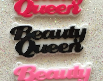 Name plate pendant - Beauty Queen resin cabochon mix - 3 pcs - name necklace