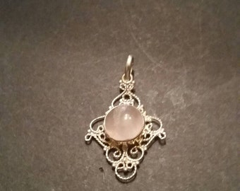 Silver Filigree Pink Stone Pendant