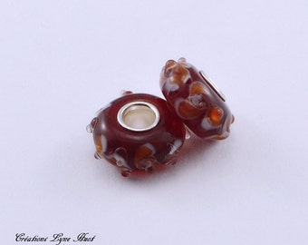 Murano glass beads charm Européan style with flower shaped patterns!