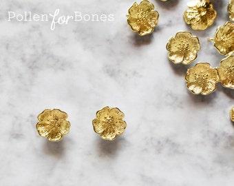 2pcs ∙ Gold Cherry Blossom Charm Dainty Sakura Flower Pendant Floral Jewelry Supplies