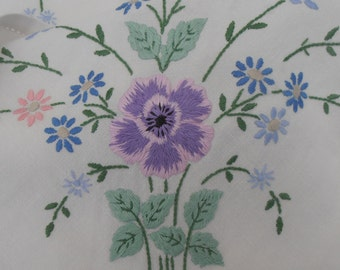 Vintage Pansy Embroidered Tablecloth