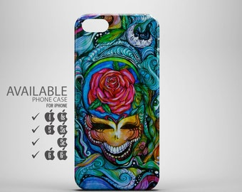 awesome psychedelic skull and rose phone case for iPhone 4, 4s, 5, 5s, 5c, 6, 6plus
