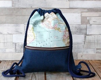 Drawstring backpack 'World map denim', handmade in denim, cotton and canvas, with zipper pocket