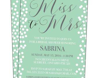 Bridal Shower Invitation, Mint and White Design Printable