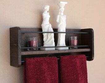 Rustic Wood Wall Shelf Towel Rack Bathroom Towel Shelf Storage Organization Bathroom Storage