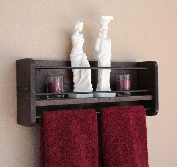 Rustic wood wall shelf towel rack bathroom towel shelf for Wooden towel racks for bathrooms