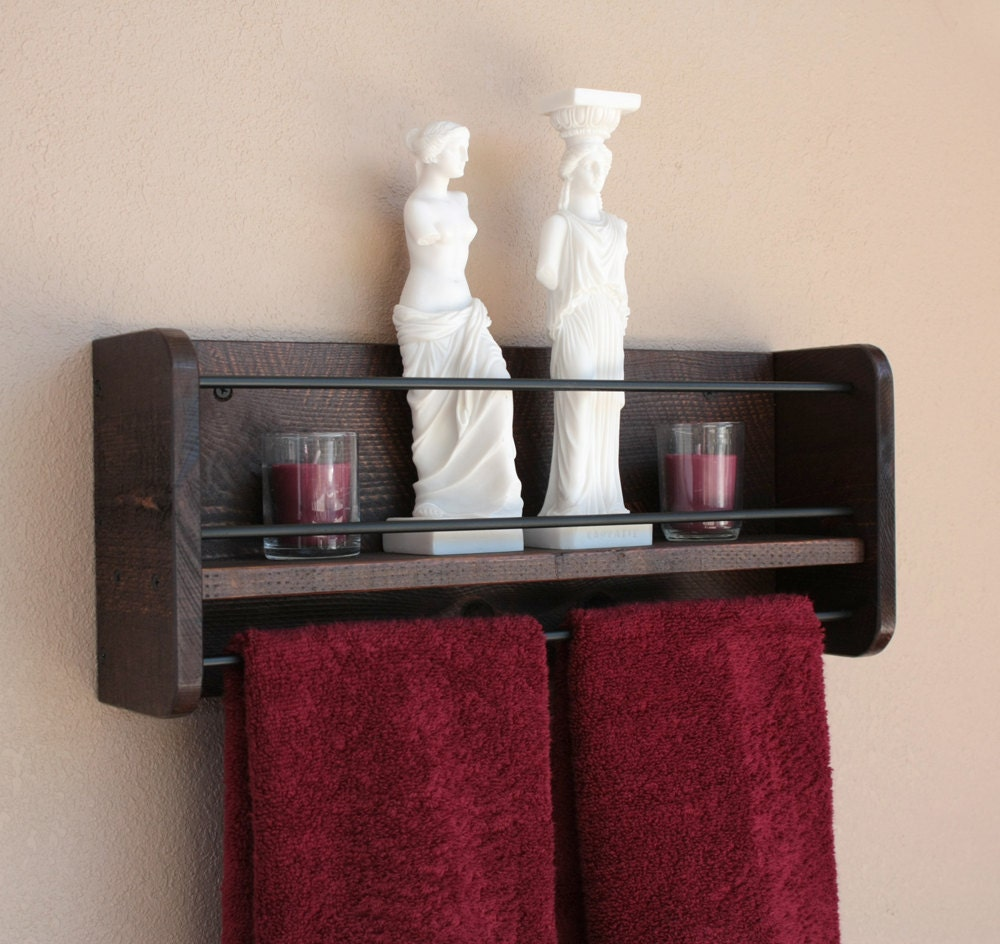 rustic wood wall shelf towel rack bathroom towel shelf. Black Bedroom Furniture Sets. Home Design Ideas
