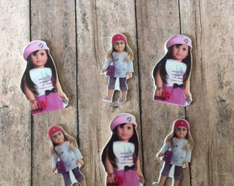 American Girl cupcake toppers , American girl doll party decorations ,American girl bow resin,American girl party supplies
