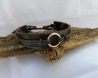 Leather Bracelet, Copper Bracelet, Men's Leather Bracelet, Men's Copper bracelet, Copper Bracelet, Leather Bracelet, ColeTaylorDesigns