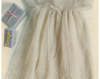 Crochet Pattern - Filet Crochet CHRISTENING DRESS - Age 6 to 9 months PDF download