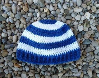 Teen/Adult Size Blue and White Stripe Beanie