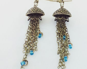 Steampunk earrings - jellyfish earrings - unusual earrings