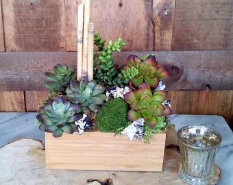Faux Zen Succulents- Artificial Floral Arrangement