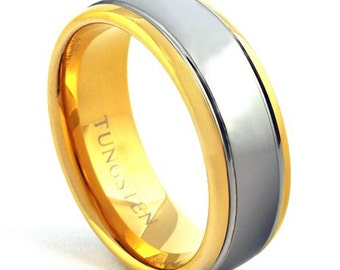 18K Gold and Silver Tungsten Ring, 2 Tone Tungsten Wedding Band, Men's Ring, 8mm Tungsten Ring, Sizes 7-15 (with half sizes)