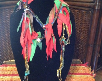 Hand dyed silk scarf with beads