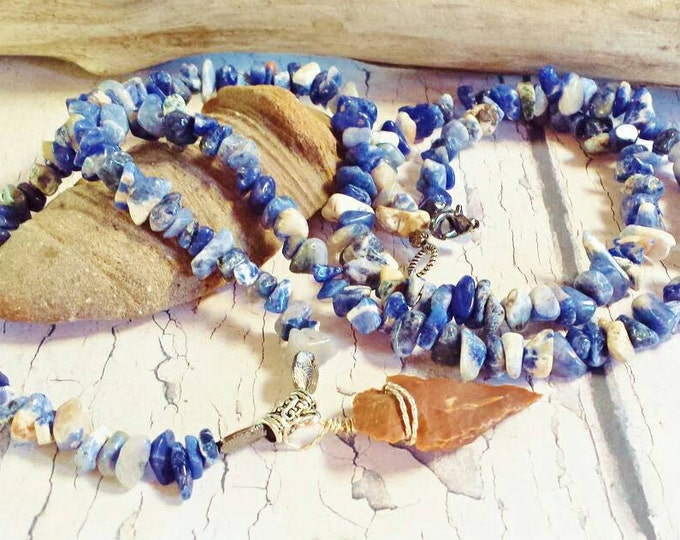 Native Style Gemstone Necklace ~ Best Ready To Ship Handmade Jewelry ~ Bohemian Unisex Chunky Blue Necklace With Native American Arrowhead