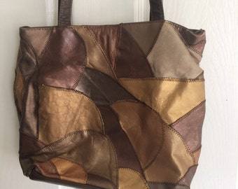 Vintage Patchwork Bag, Gold Handbag, Copper Handbag, Patchwork Purse, Vintage Purse, Color Block Purse, 80's Purses, Patchwork Bag