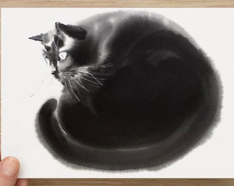 "Medium postcard (7"" x 5"")  Card with my cat art Postcards"