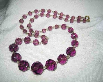 Vintage 40s Lavender Purple Cut Crystal Necklace