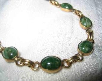 Vintage Green Jade Linked Bracelet