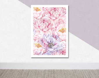 Modern Abstract Flowers, Contemporary Floral Art, Pink Botanical Print, Mother's Day Gift, Botanical Abstract Pattern, Peonies and Anemones