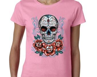 Sugar Skull -Calavera Tshirt -Roses -Day Of The Dead -Sugar Skull Tshirt -Womens Shirt -Ladies Tshirt -Ladies Shirt -Tee -Shirt -Tshirt
