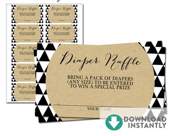 """Diaper Raffle Tickets 3.5x2"""" // Modern Baby Shower Geometric Triangles Trend Kraft Black and White Shapes // Instant Download No.357"""