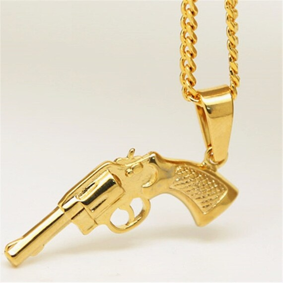 Mens stainless steel gold revolver pistol gun charm w 3mm 24 mens stainless steel gold revolver pistol gun charm w 3mm 24 inches cuban chain hip hop necklace pendant iced out 14k gold overlay cool gift from makecharms aloadofball Image collections