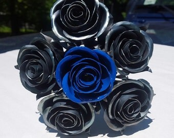 Metal Rose Wedding Bouquet, Custom painting, Rose Bridal Bouquet, Metal Rose, Wedding Flowers, Bridesmaid Bouquet, Wedding Gift