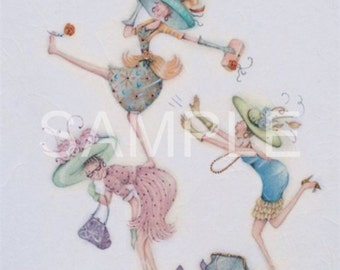 Fabric Quilt Block  *Whimsical Ladies*   16-039- FREE SHIPPING