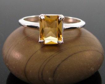 citrine ring, Citrine Ring Silver - ring citrine size 8 - sterling silver citrine ring - November Birthstone Ring -  genuine citrine emerald